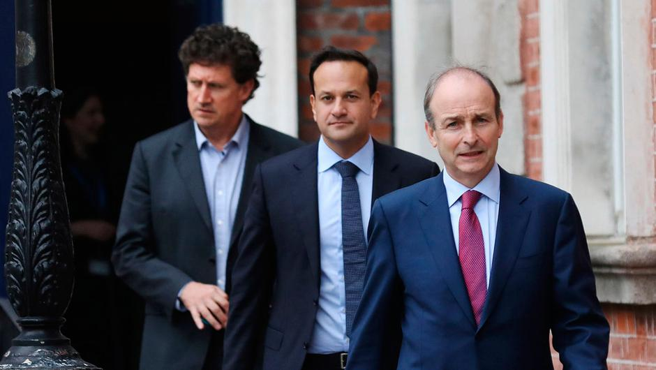 Party leaders (from left) Eamon Ryan of the Green Party, Leo Varadkar of Fine Gael and Micheál Martin of Fianna Fáil (Photo: Julien Behal/PA Wire)