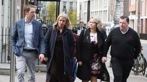 Stephen Teap, Vicky Phelan and Lorraine Walsh on their way into the Dáil. Photo: Leah Farrell/RollingNews.ie