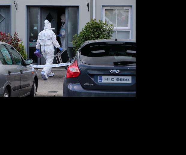 Garda forensic officers at the house in Clashmore, Co Waterford, where the baby girl died. Photo: Niall Carson/PA