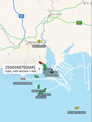Search track mapped by the Irish Coast Guard rescue helicopter