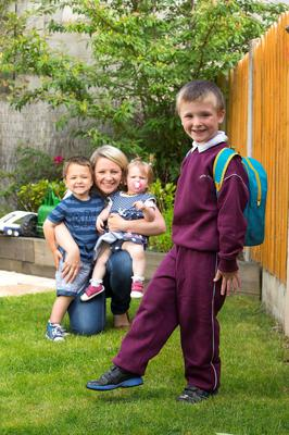 Sinead Fox from Gorey, Co Wexford, with her children Cathal, Laoise and Ciaran. Photo: Patrick Browne