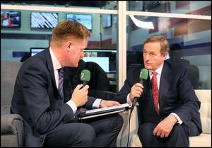 Taoiseach Enda Kenny is interviewed for Independent.ie by Fionnan Sheehan at the Web Summit in Dublin. Picture: Steve Humphreys
