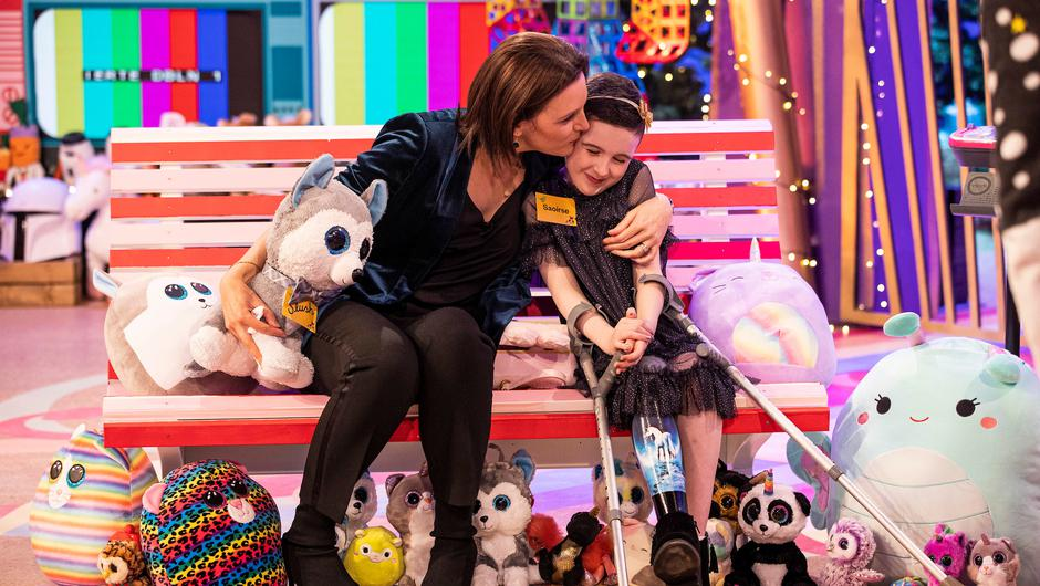 Saoirse Ruane, age 8, from Galway with her mum at The Late Late Toy Show 2020