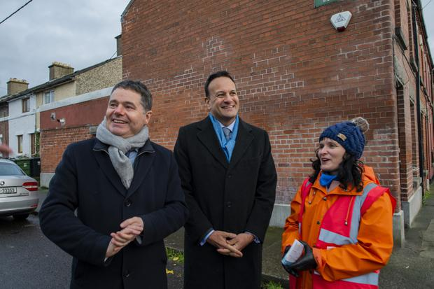 First day of canvassing for Fine Gael in Dublin Central around the North Strand area. L to R: Minister for Finance Paschal Donohoe Taoiseach Leo Varadkar and candidate Deirdre Duffy