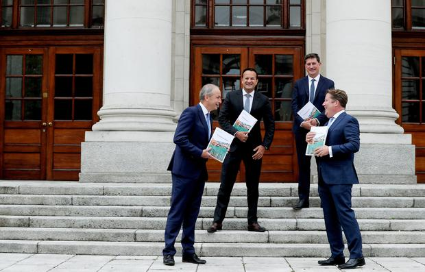 Taoiseach, Micheál Martin TD, Tánaiste and Minister for Enterprise, Trade and Employment Leo Varadkar TD, Minister for the Environment, Climate, Communications and Transport, Eamon Ryan TD and Minister for Housing, Local Government and Heritage, Darragh O'Brien TD at todays launch of Housing for All - a New Housing Plan for Ireland.