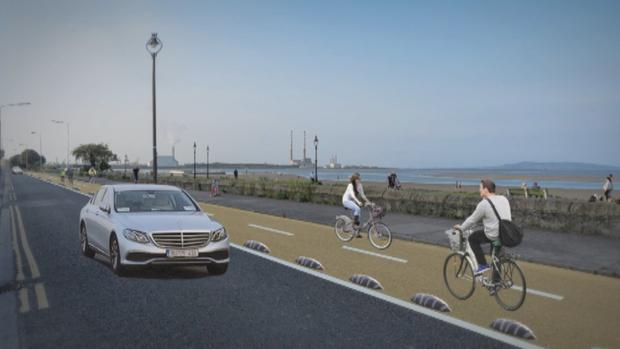 Artist's impression of the two-way cycle track plan for Sandymount