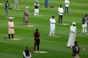 Pitching in: Socially distanced worshippers praying in Croke Park on the first day of Eid. Photo: Damien Eagers
