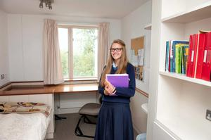 Jane Tuohy, a sixth year Rathdown boarder, in her room at the Glenageary college