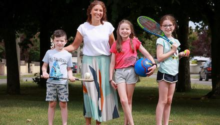 Always on the move: Eimear Griffin with her children Max (6), Lucy (8) and Emily (10)