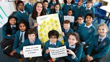 Fiona Nolan from St Mary's Primary School in Dorset Street discusses homelessness with 4th and 5th class students. PHOTO: STEVE HUMPHREYS