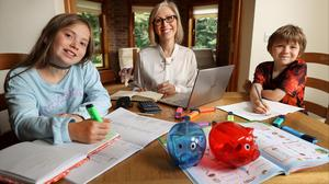 Mum Kel Galavan getting ready for back-to-school time with her children Ria (11) and Aaron (8)