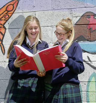Santa Sabina students Rebecca Waldron and Stephanie Ryan, both 18, after sitting Maths Paper 2 yesterday. Photo: Frank McGrath