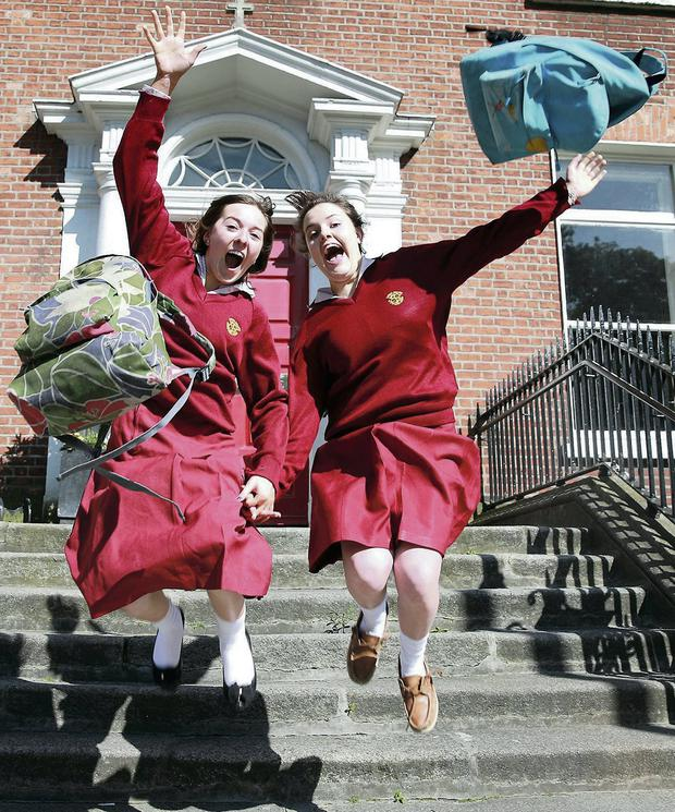 Leaving cert students Anna Conlon, Milltown and Sorcha O'Loughlin, Rathgar at Loreto College after finishing their Accountancy exam.