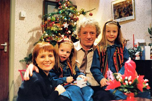 From left to right; Mary McEvoy as Biddy Byrne, Grace Barry as Mary-Ann, Mick Lally as Miley Byrne and Blathnaid Treacy as Denise. 'Glenroe' ran from 1983-2001.