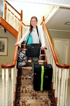 Deirdre Sheahan, from Beaufort, Co Kerry, all packed for Trinity