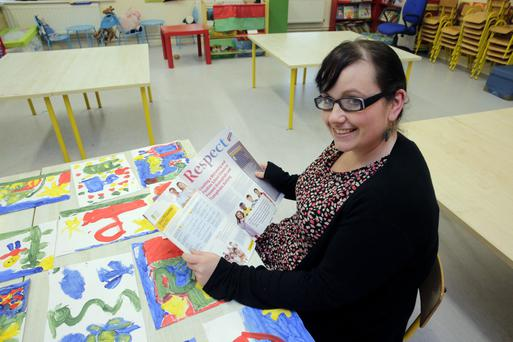 Beating the bullies: Teacher Cecelia Gavigan from Balbriggan Educate Together NS with the new Respect guidelines on teaching primary pupils about LGBT issues and homophobia. Photo: Arthur Carron