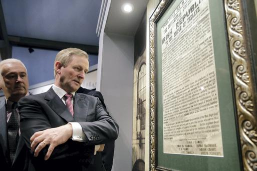 Taoiseach Enda Kenny reading the Proclaimation of Independence at the County Museum in Dundalk where he was attending the opening of the 1916 commemorative exhibition. Picture:Arthur Carron