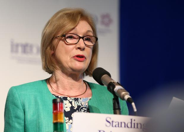 Education Minister Jan O'Sullivan during her address to the Irish National Teachers' Organisation annual congress at the West County hotel in Ennis yesterday