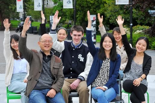 UCC students Qinshina Bu; Yongbin Xia UCC Confucius Institute director; Qi Qi; Billy Lonegan; Siliang Zhu; Lzhong Zhao and Duojiao Shan, pictured at the launch of the Shanghai Education Exhibition which will take place in City Hall Cork on June 2. Photo: Darragh McSweeney