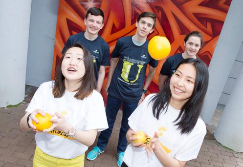 Summer school: Jonathan Daleo (14), Mark Smith (17), Úna McGlynn (14), Gantsetseg Otgonsuren (17) and Khorolsuren Natsagdorj (16) enjoying the Discover University programme run by the Early Learning Initiative at the National College of Ireland. Photo: El Keegan