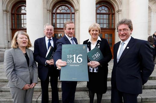 Announcing the conference, from left: Mary Daly (Royal Irish Academy); Dr Maurice Manning; Taoiseach Enda Kenny; Arts Minister Heather Humphreys; and Dr Jim Browne (NUIG)