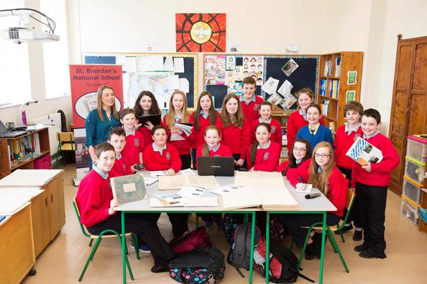 Teacher Eilis Treacy teaching principal and her 5th and 6th class at St Brendan's NS Eyrecourt, Co Galway. Photo: Andrew Downes