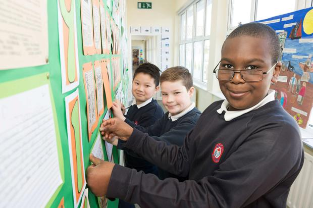 Kaelan Geng, Charlie Martin and Declan Gbinigie, all in fourth class at Scoil Eanna in Galway. Photo:Andrew Downes