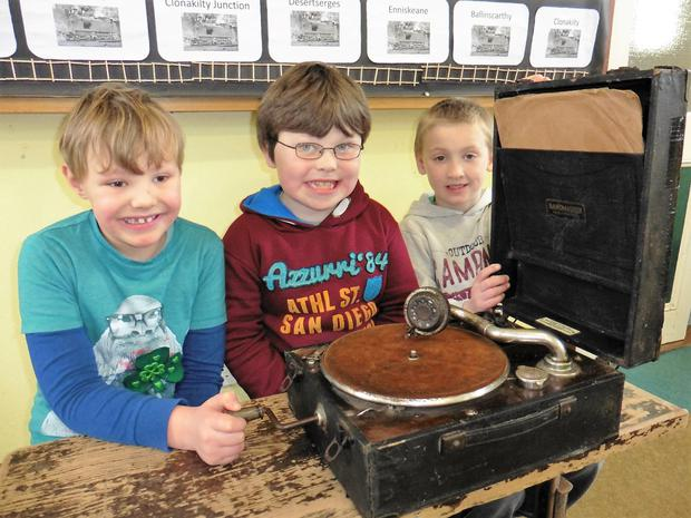 Pupils with a gramophone in Proclamation Day exhibition at Desertserges NS, Enniskeane, Co Cork.