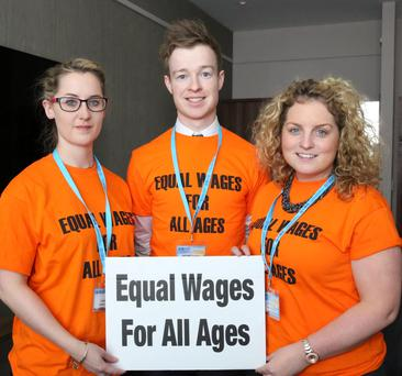 Young teachers, from left, Louise Curtis from Dublin, Orlaith Ní Fhoghlœ from Dublin and Michael McConigley from The Curragh. Photo: Mary Browne
