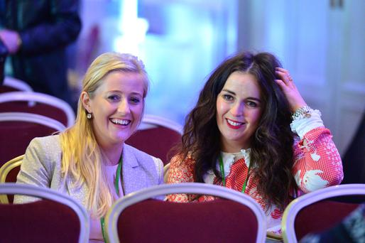 Denise Hughes, left, at the ASTI conference in Cork. Photo: Michael Mac Sweeney