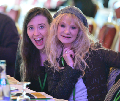 Jennifer Hiney and Carmel Bilginer of Coláiste Muire, Cobh, at the ASTI conference. Photo: Michael Mac Sweeney