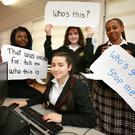 Transition Year students at Luttrellstown Community College, Basirat Adeosun (16), Iuliana Florea (16), Chloe Noonan (16) and Shemos Amir (15), whose project 'Internet Safety' was part of the school's citizenship project for Young Social Innovators. Photo: Frank Mc Grath