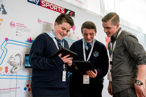 Nathan Kelly and Kelvin Millea, St Kevin's College, with teacher Graham Maher on a visit to the Sky Careers Lab.