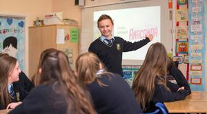 Conor Eiffe delivering a three-minute presentation on music sampling in one of the first of the new classroom-based assessments in for the new junior cycle. Photo:Mark Condren.