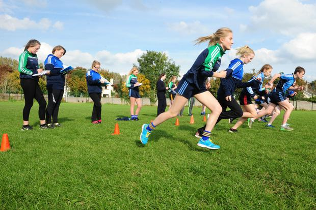 Students taking part in a PE lesson at Tullamore College, Co Offaly. Photograph: James Flynn/APX