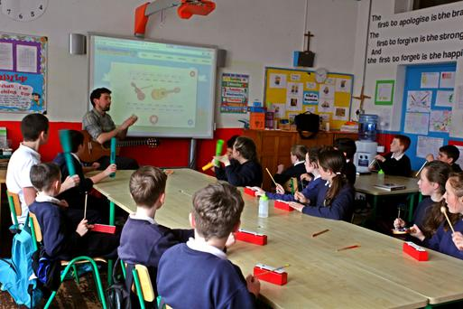 Shane McKenna doing a music workshop with pupils at St Peter's Primary School, Bray, Co Wicklow