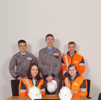 Eibhilín Hennessy (bottom right) and other apprentices who started in GSK Cork in September - (standing l to r) Daniel Horgan (mechanical), Eric Desmond (electrical & instrumentation) and Cian Aherne (mechanical), and (seated l ) Doireann O'Connor (pharmaceutical technical)