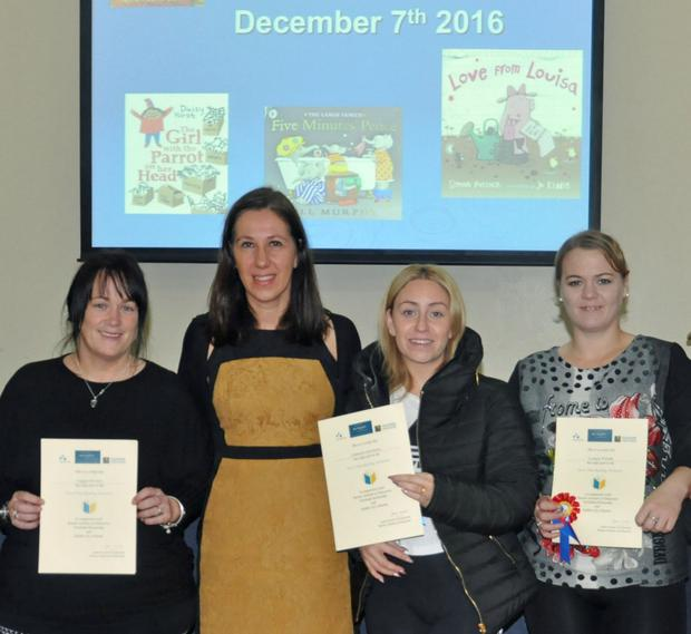 Parents, Elizabeth Brown, Leanne Gorman and Lynsey Walsh who recently received their Story Time certificates, pictured with Alison Gilliland of the Irish National Teachers' Organisation