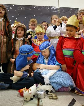 Issie Brennan and Dan O'Connor (6) as Mary and Joseph, and Senior Infants classmates, in the nativity play at St Mary's NS, Donnybrook. Photo: Frank Mc Grath