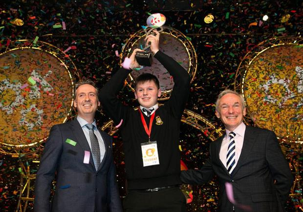 Shane winning Young Scientist