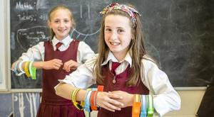 Laura Keogh (left) and Julia Dempsey of Killeshin National School show off their Flashbandz