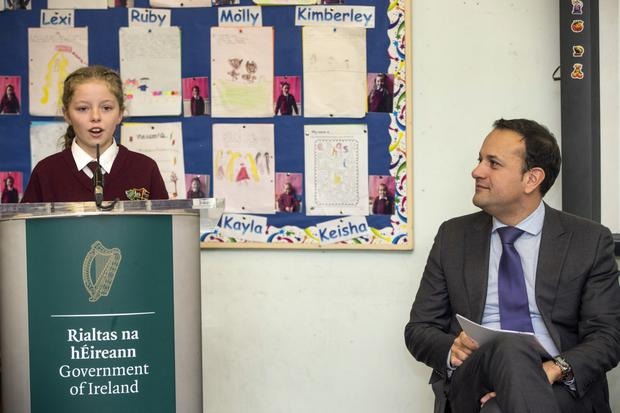 Student council member Jayla King introduces Taoiseach Leo Varadkar at the official launch of the Creative Ireland Programme Creative Youth plan at St Laurence O'Toole Girls National School, Seville Place, Dublin Photo: Mark Condren