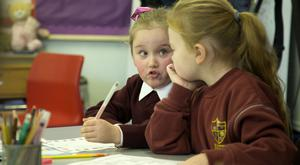 At the launch of the plan were St Laurence O'Toole's pupils Keisha O'Driscoll and Kayla Smyth. Photo: Colin O'Riordan