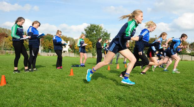 Students take part in a PE lesson. Photo: James Flynn/APX