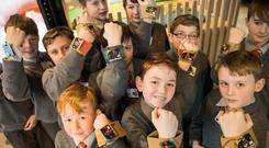 Pupils from St Laurence's Boys National School, Stillorgan, built and coded a wearable device at DreamSpace Photo: Naoise Culhane