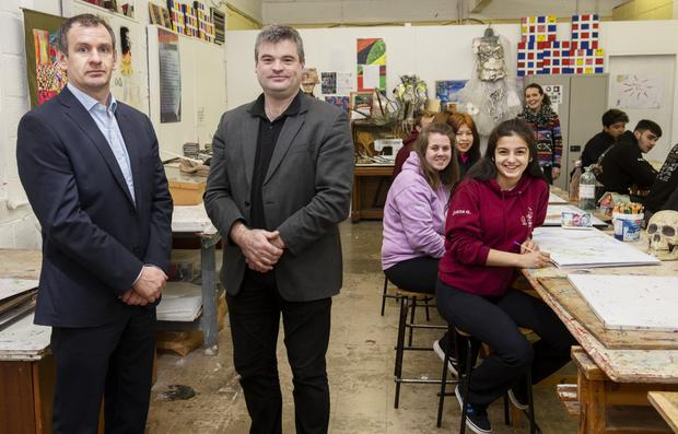 Deputy Principal Shane McClearn and Principal Brian Melia with some of their students. Photo: Andrew Downes/XPOSURE