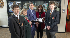 Principal David Lordon with Head of Sixth Year, Rosemary Healy (left), Head of First Year, Anne Long (right) and students Stephen Kearney (left) and Brendan Crowley (right). Photo: Michael Mac Sweeney/Provision