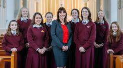 Laurel Hill Colaiste principal Aedin Ni Bhriain with some of her students. Photo: Eamon Ward.