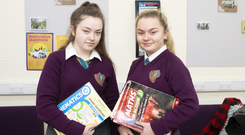 Junior Cert students Laura Louise McInerney and Sophie Cribbin (both aged 15) at the Northside Limerick Youth Service where they do online maths grinds. Photo: Liam Burke/Press 22