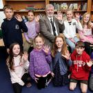 Teacher Mark Howard with pupils who participated in research on left-handed learners at Delgany NS. Pictured from back left: Daniel Drane, Rachel Martin, teacher Mark Howard, Caroline Bond, Keela McConnell and Edward Battye. Front row, left to right: Isabelle Willoughby-Doherty, Yasmin Byrne, Eve Tyrrell, Ben Heasley and Chloe Edge. PHOTO: Steve Humphreys